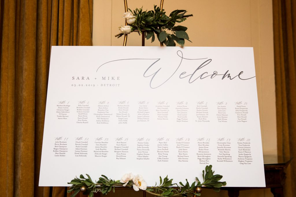 Seating chart sign for wedding