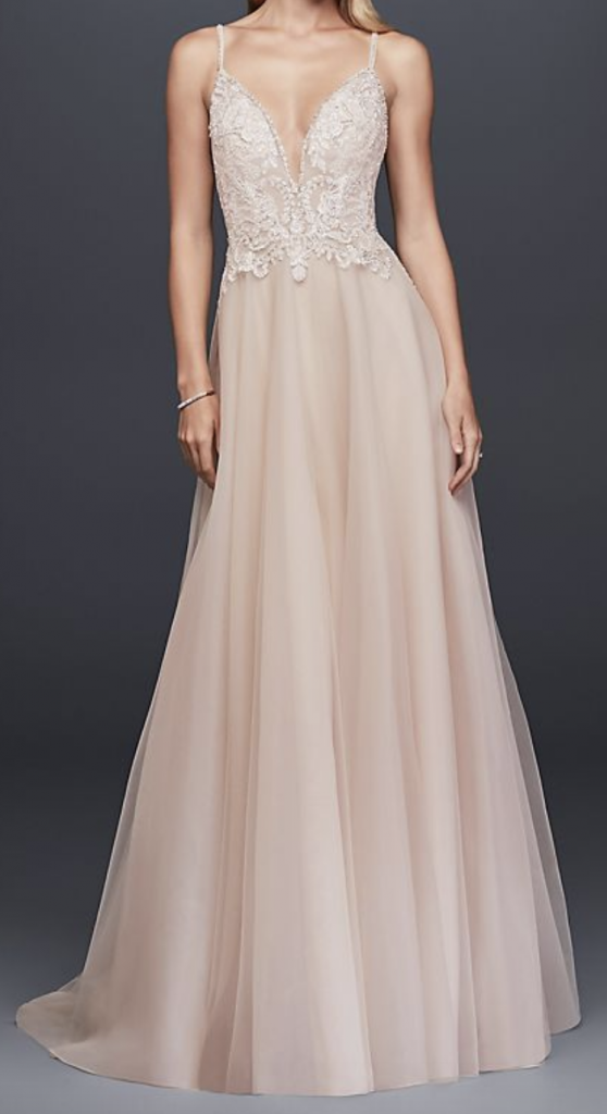 Blush wedding gown from David's Bridal