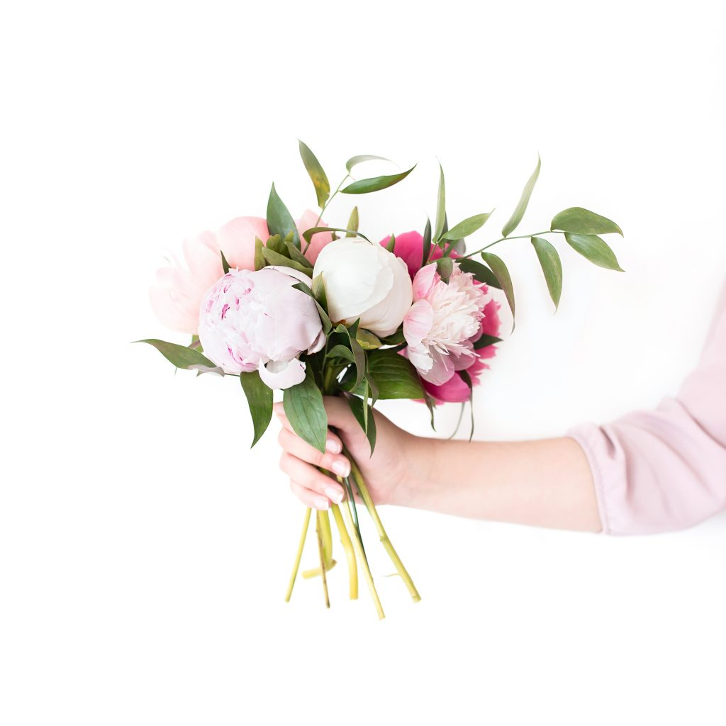 Small arrangement of pink flowers