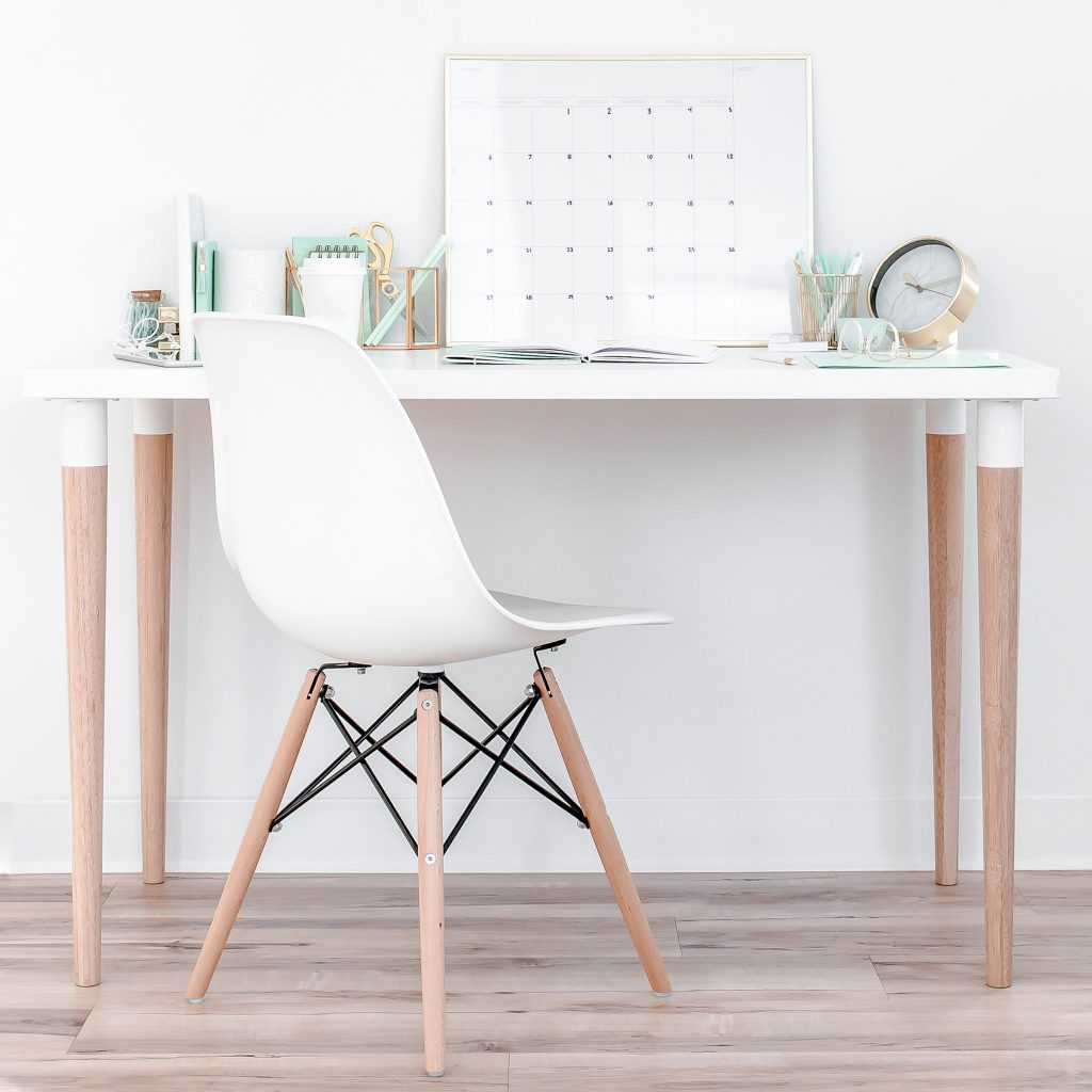 chair and desk with calendar