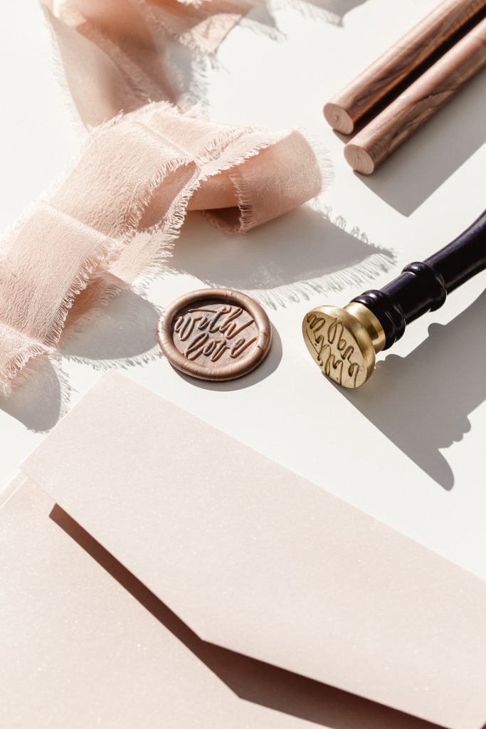 wax seal for pink invitation