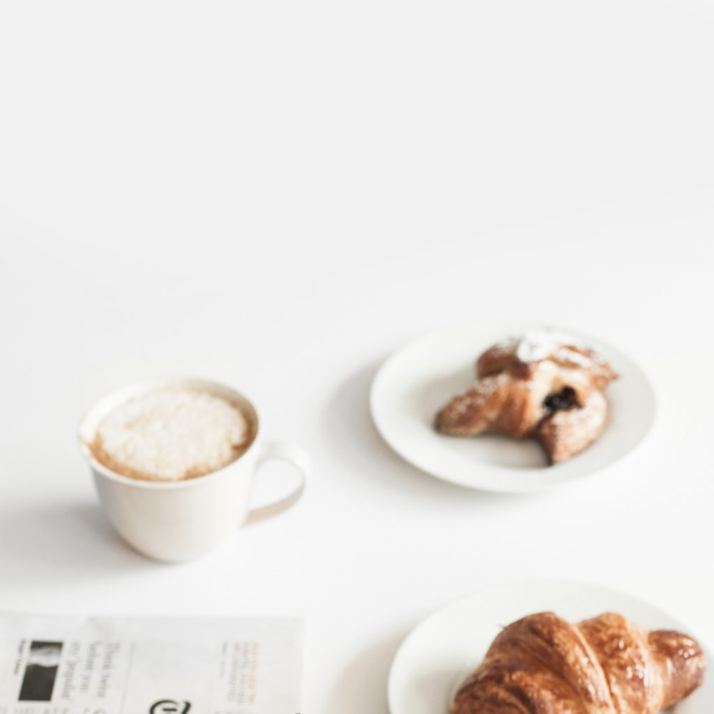 Coffee and chocolate croissants